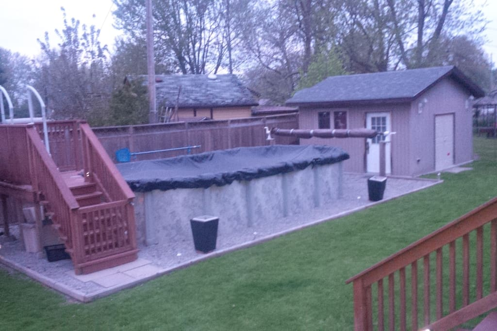 Venture down to the lake or enjoy our backyard with our 24 x 12 above ground chlorine pool with automatic chlorinator.