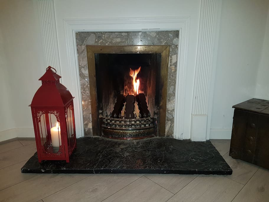 Lantern beside the fireplace