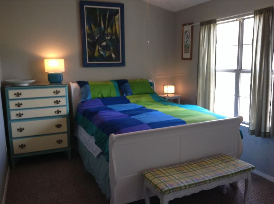 Furnished bedroom with new sleigh bed and mattress