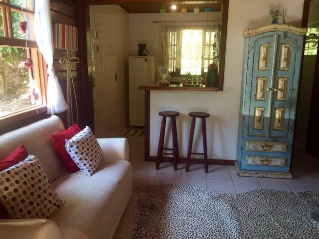 Sala com cozinha americana e sofá cama de casal.