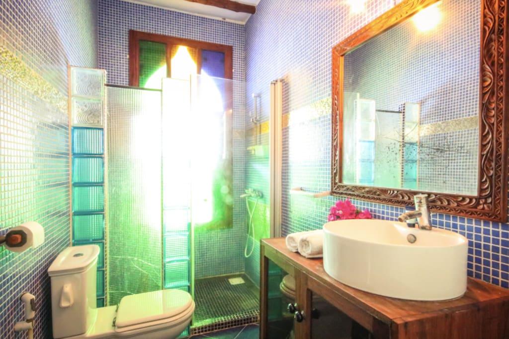 Bathroom. Shower in morning light
