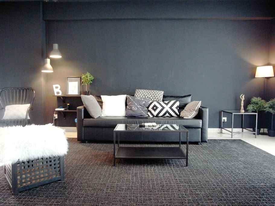 The living room is decorated on a white and black  Scandinavian style