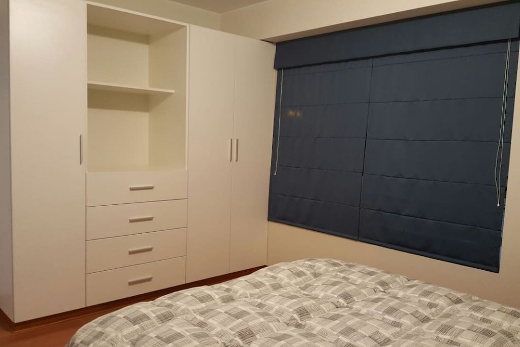Master Bedroom & Bathroom with plenty of personal storage space for clothes. Air mattresses available upon request. Ideal for couple wanting to stay for a relaxing retreat.