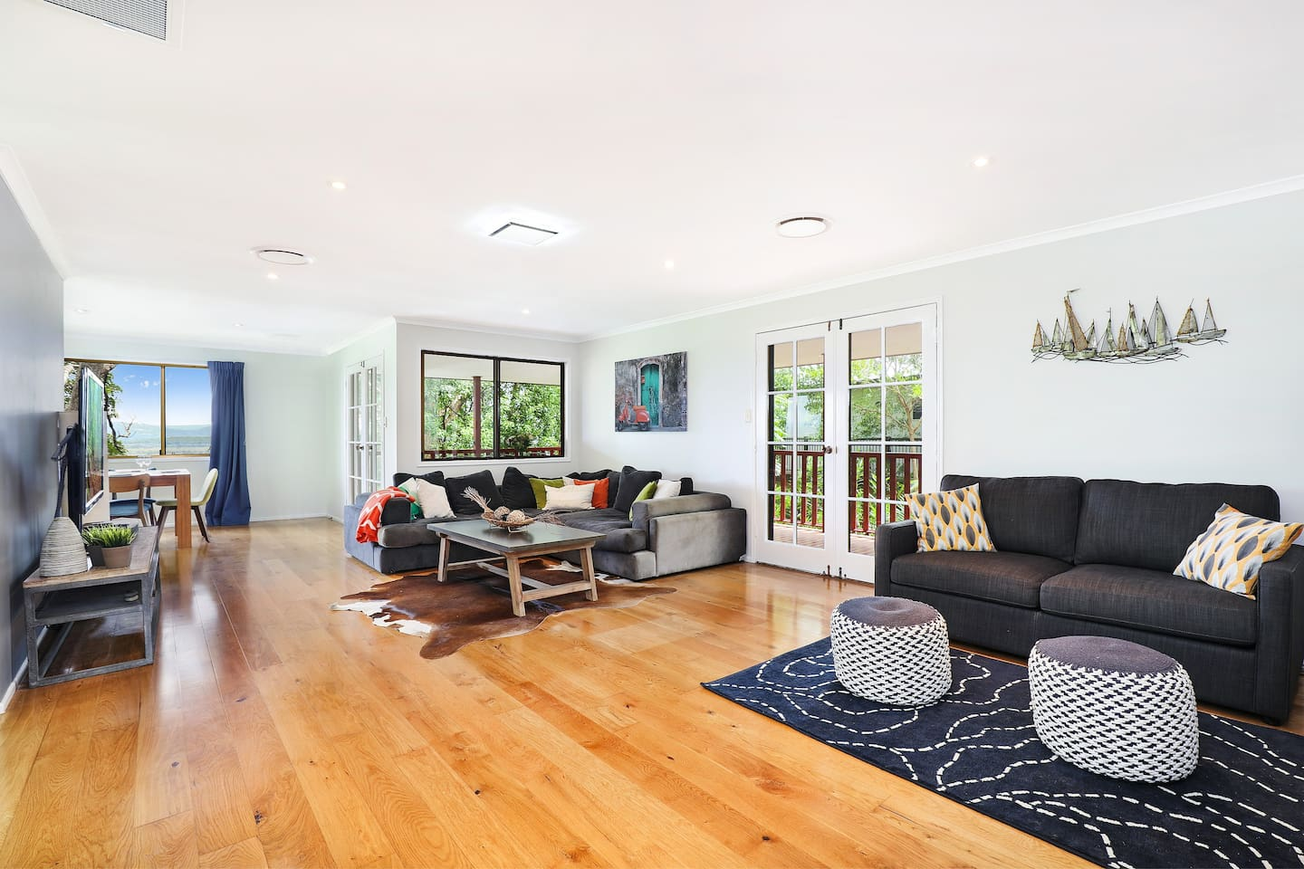 Main Lounge Room/Large Space - Imagine relaxing here after a day spent at beautiful Coolum Beach!   Sofa Bed to the right.