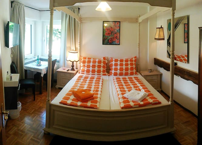 Double bedroom with spacoius bathroom