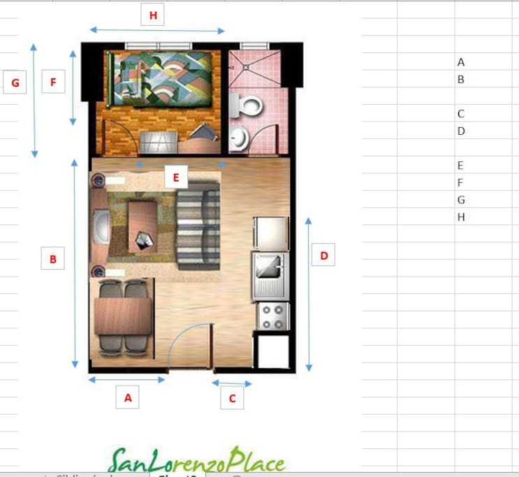 Floor layout - 26 square meters (drawing courtesy of Empire East)