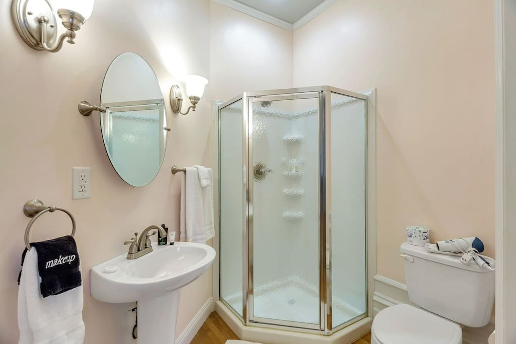 This room has its own private full bathroom that is brand new and located inside the room.