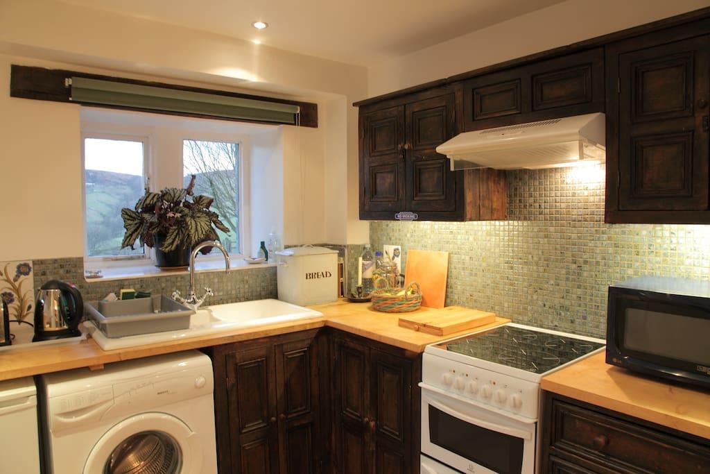 Kitchen with craftsman-built wooden worktop