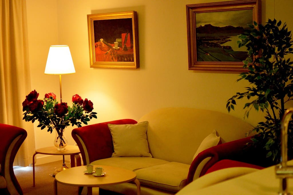 Living Area with beautiful oil paintings
