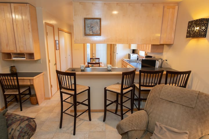 Quiet Luxury Condo w/ Wood Stove | Single Storey