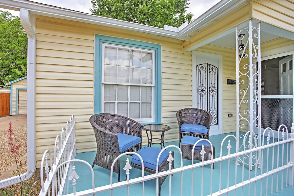 Relax on the alluring front porch.