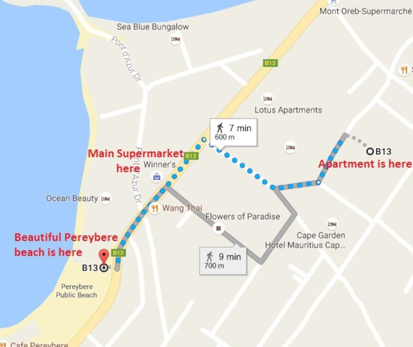 Google map showing the walk to the beautiful Pereybere beach with supermarkets, pharmacy and restaurants on the way.