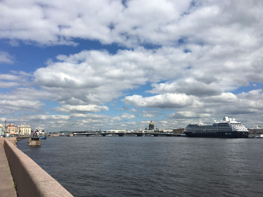 View from the banks of the Neva River - just 50 steps away from the building main entrance