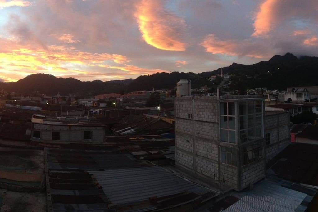The sun rising over a El Baul, as seen from the terraza.