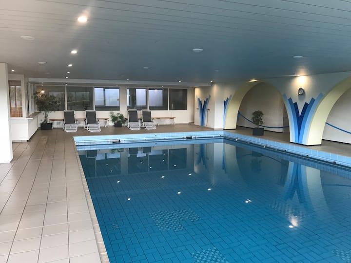 Feldbergblick mit Schwimmbad