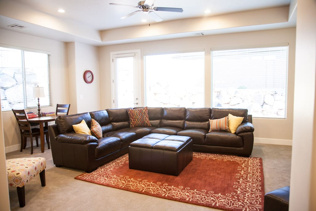 Spacious living area with game table and games