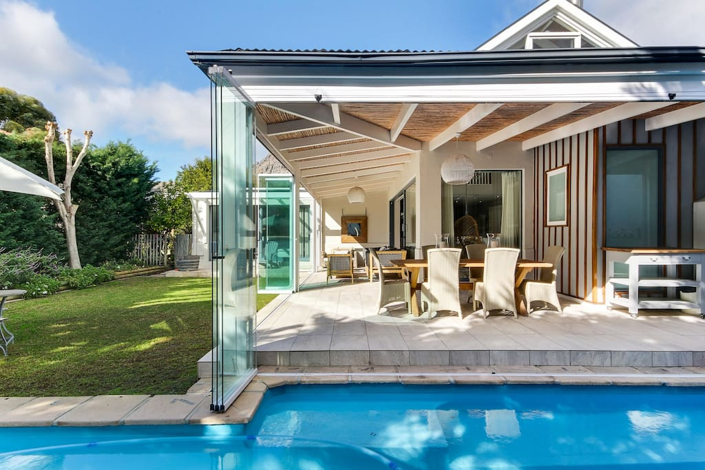 Indoor/outdoor living with lap pool