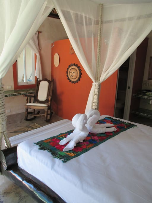 Casitas feature hanging beds with mosquito curtains, air conditioning, fans and ensuite bathrooms to guarantee a relaxing night