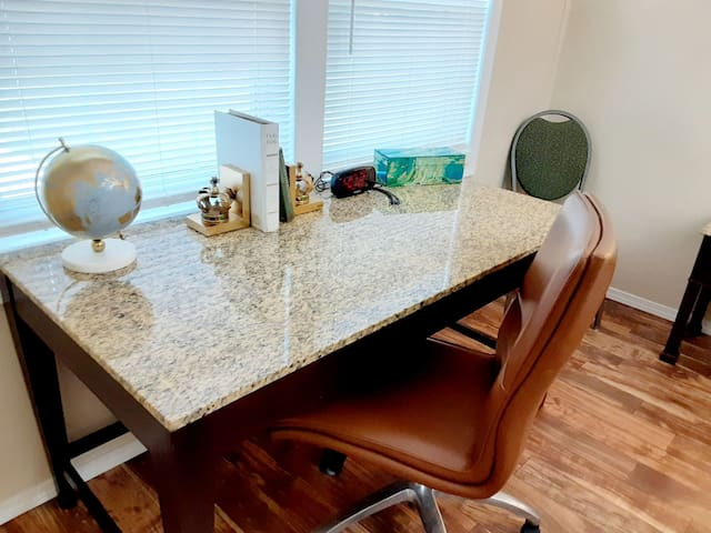 Large desk with plenty of space to work or study. Free wifi included.