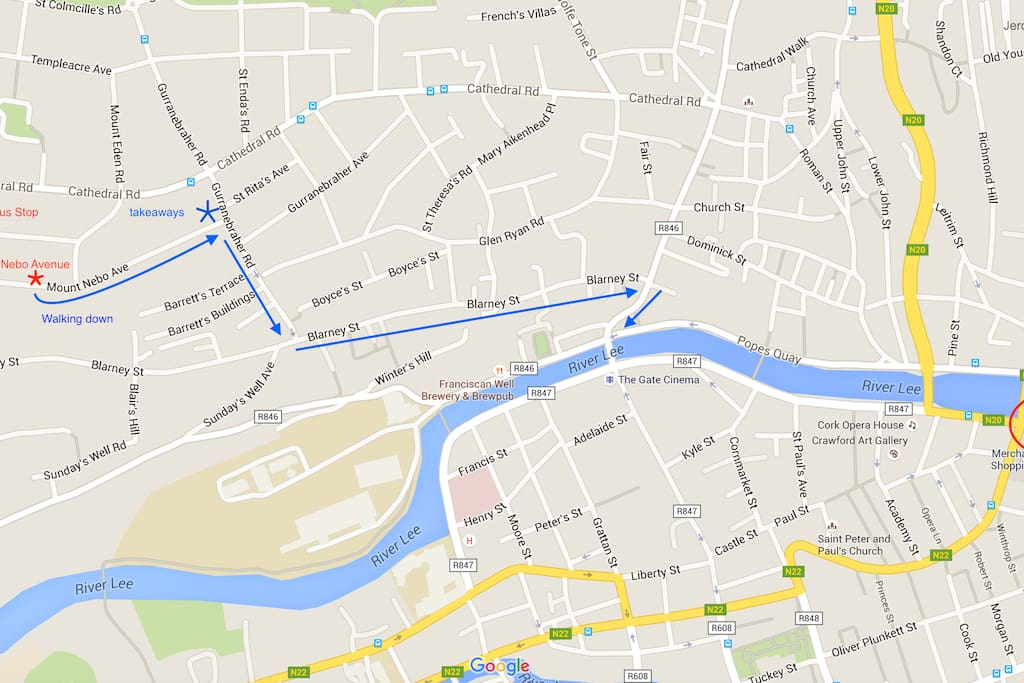 map for bus and walking
