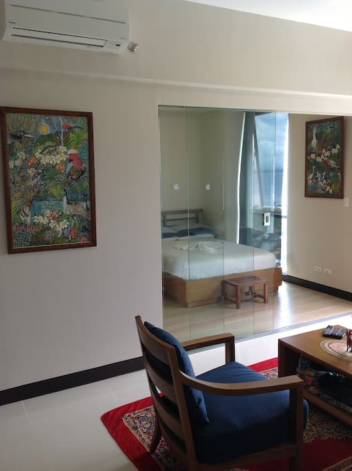 Studio Bedroom with Glass Separation Panels