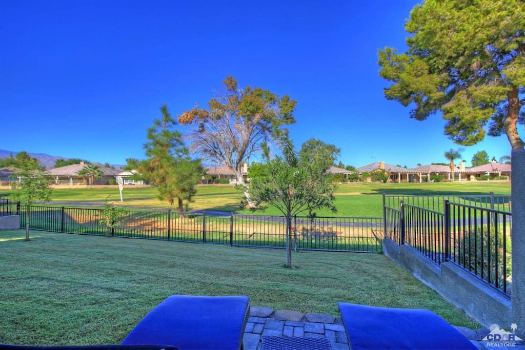 Relaxing in your private backyard overlooking the 6th fairway Indian Palms CC Mountain course with views of the Santa Rosa Mountains
