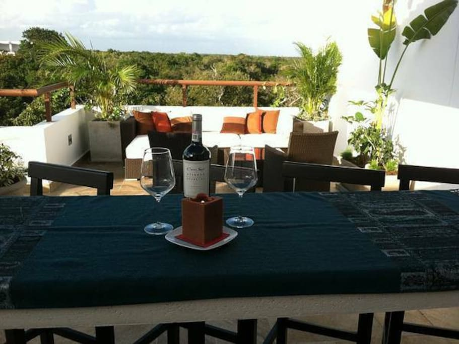 Drinks, coffee, dining, lounging with jungle vistas from rooftop terrace