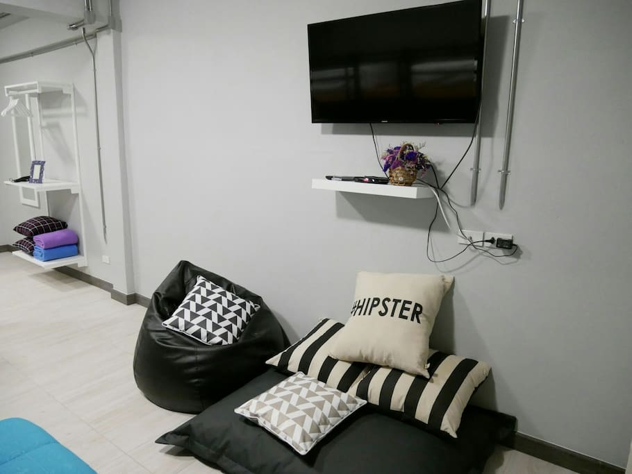 The room has new air conditioning and a wide screen TV.
