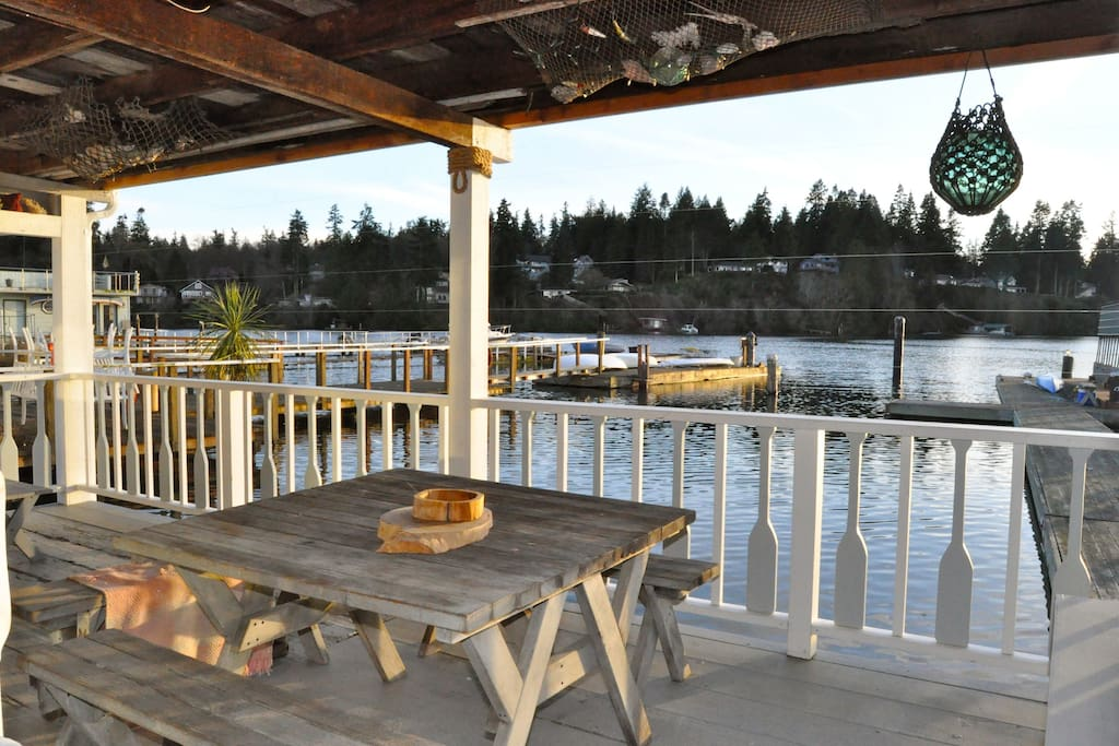 View from the covered deck. Enjoy your dinner with water and sunset views.