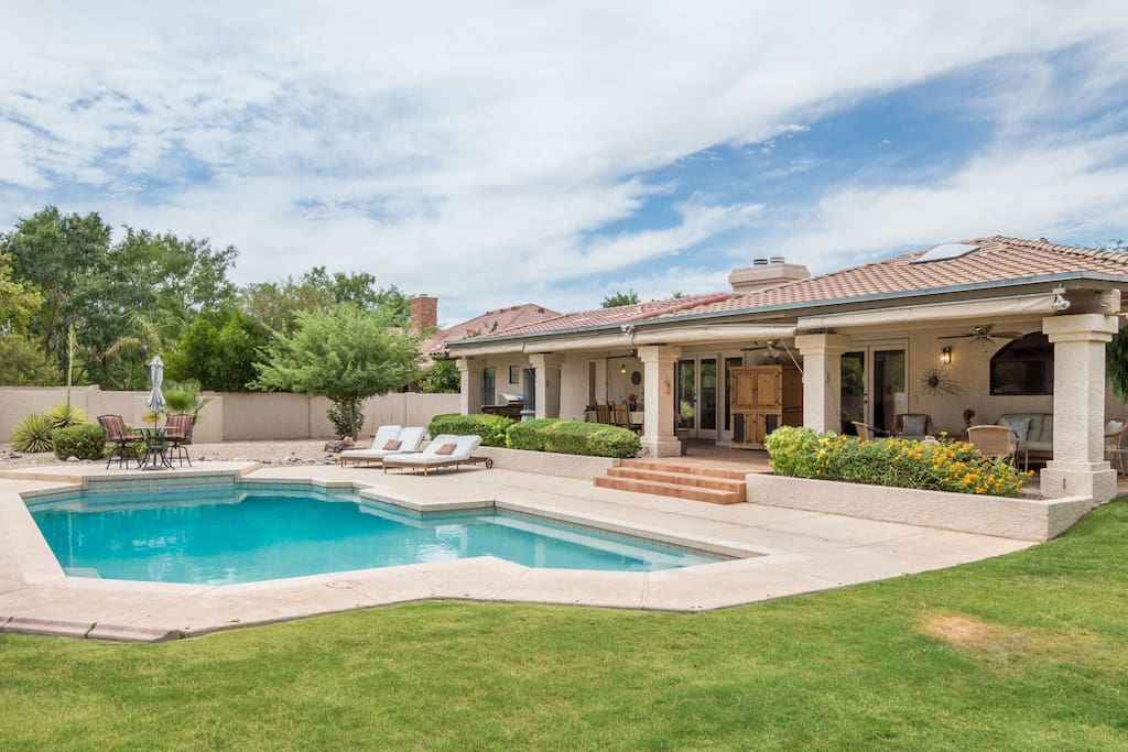 Large pool and patio in backyard. It is a diving pool but diving board has been removed. Pool not fenced. Fence can be arranged for long term rental.