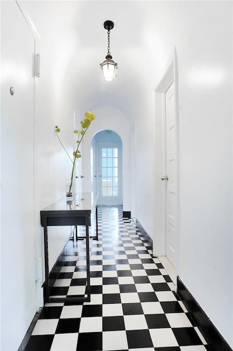 Hallway to bedrooms, library, and home office.