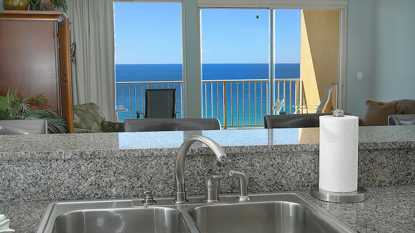 Master gulf view from the kitchen