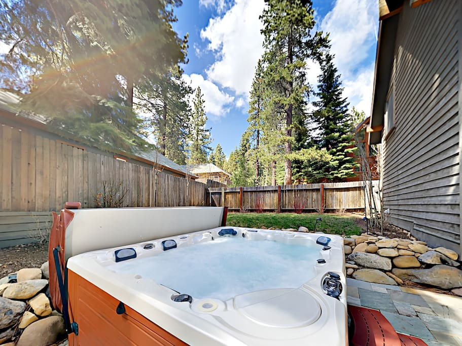 Watch the sun set in the 10-person hot tub.