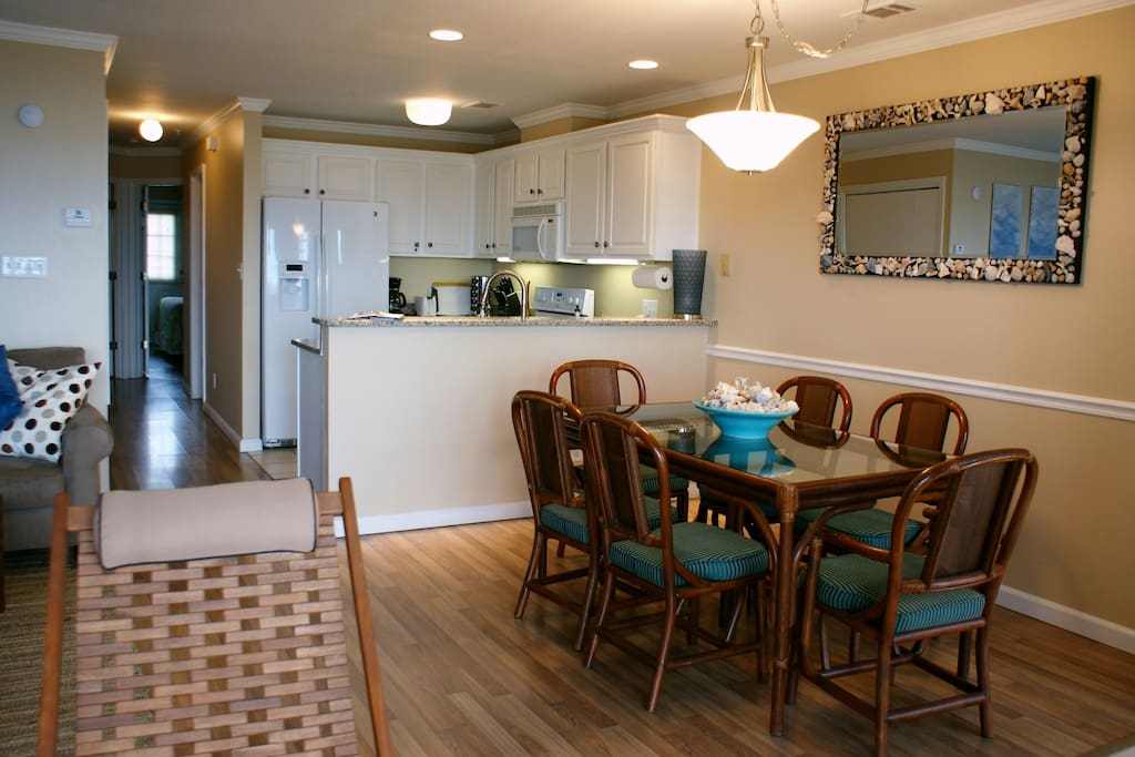 Open concept living dining and kitchen area