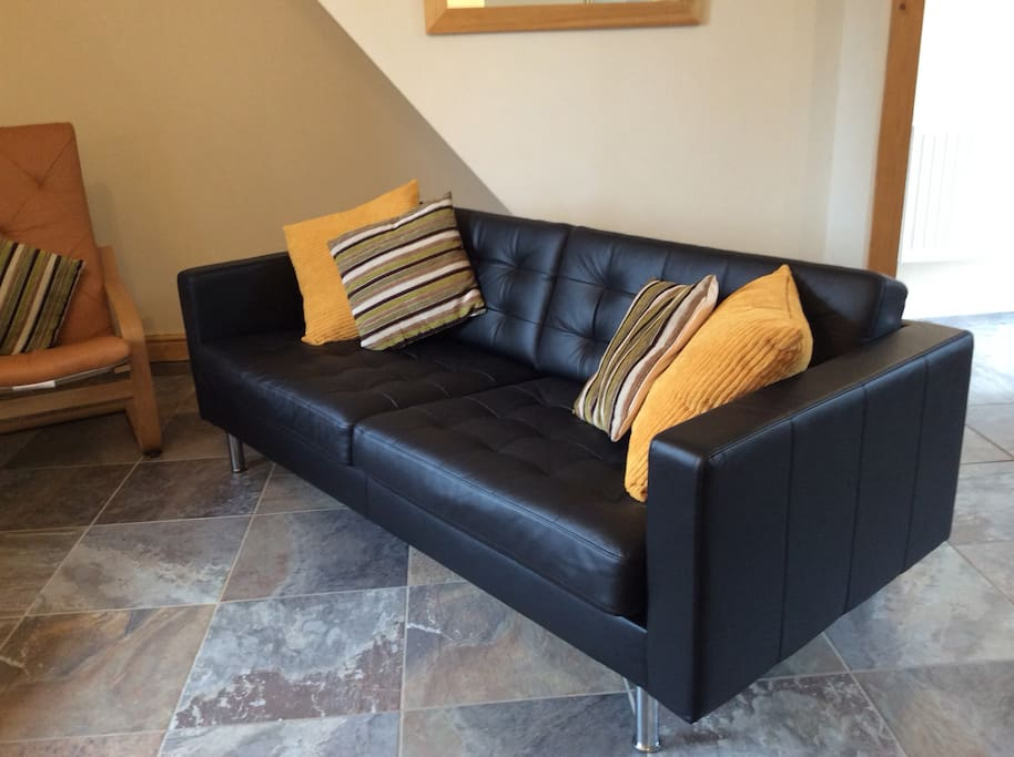 spacious leather  couch