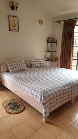 Bedroom 2 has two twin beds, that is joined to form a queen bed