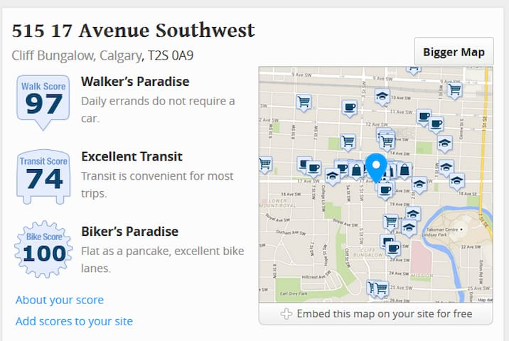 Walkscore for 17th Avenue - great amenities, restaurants, bars and entertainment within a 10 minute walk, no need to leave the downtown core!