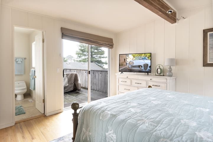 Master bedroom suite with queen bed and access to outside ocean view deck.
