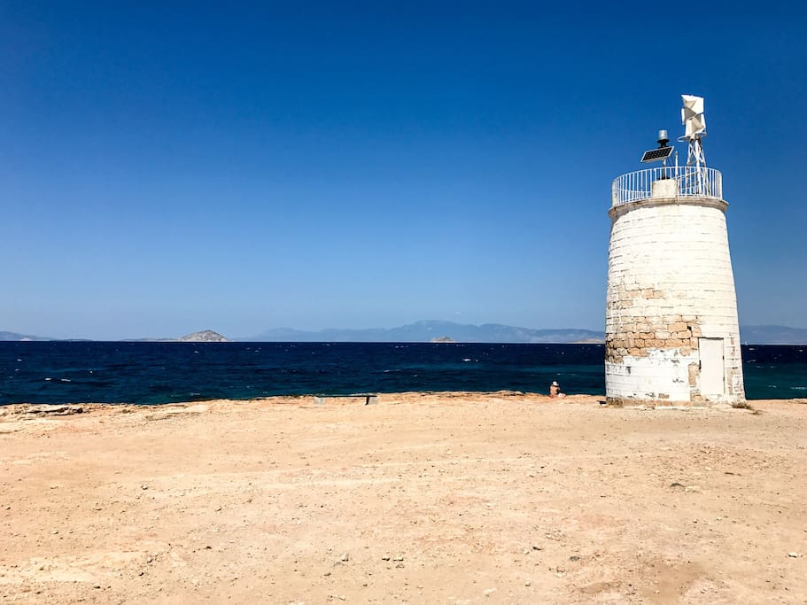 The nearby lighthouse