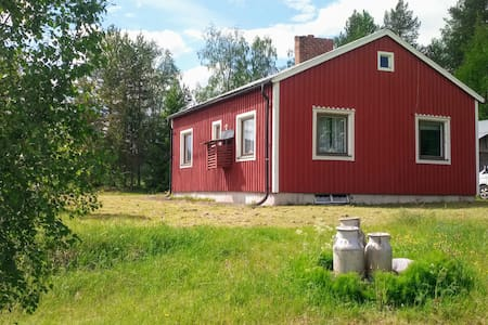 Swedish Lapland, cottage near lake, dogsled, boat