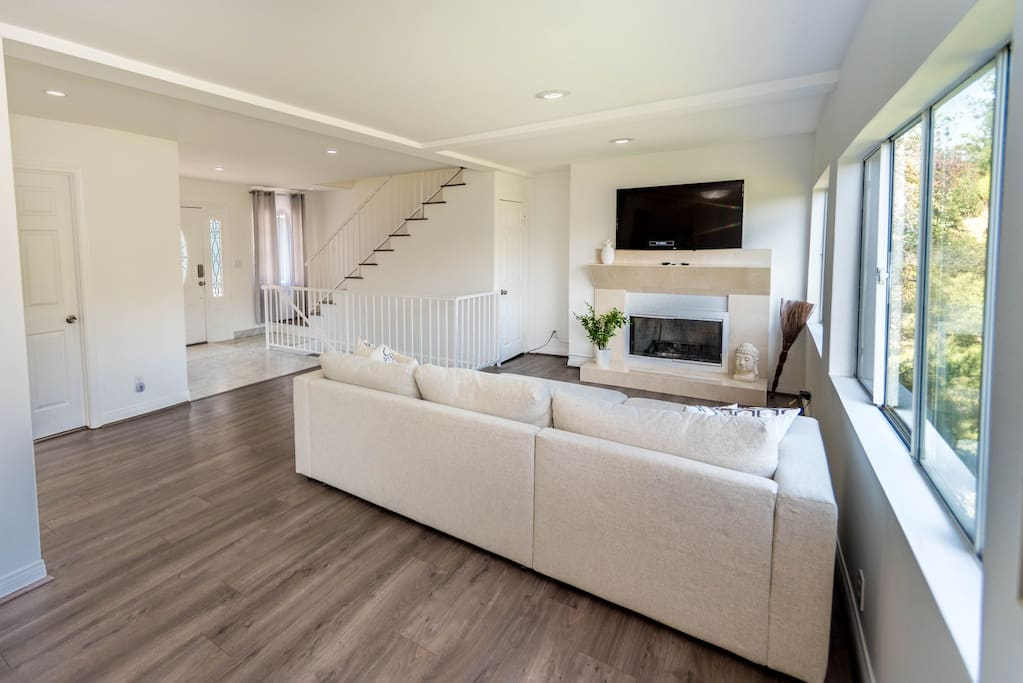 Living room with Smart TV and Fireplace
