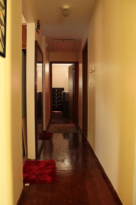 Hallway Connecting Rooms with Bathroom and Kitchen