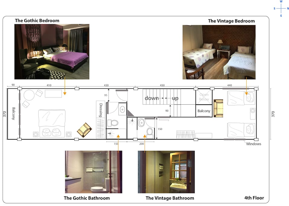 The floor plan 5th floor, 2 comfy Artist's bedrooms;  ' The Gothic bedroom & The Chic Cottage bedroom '.
