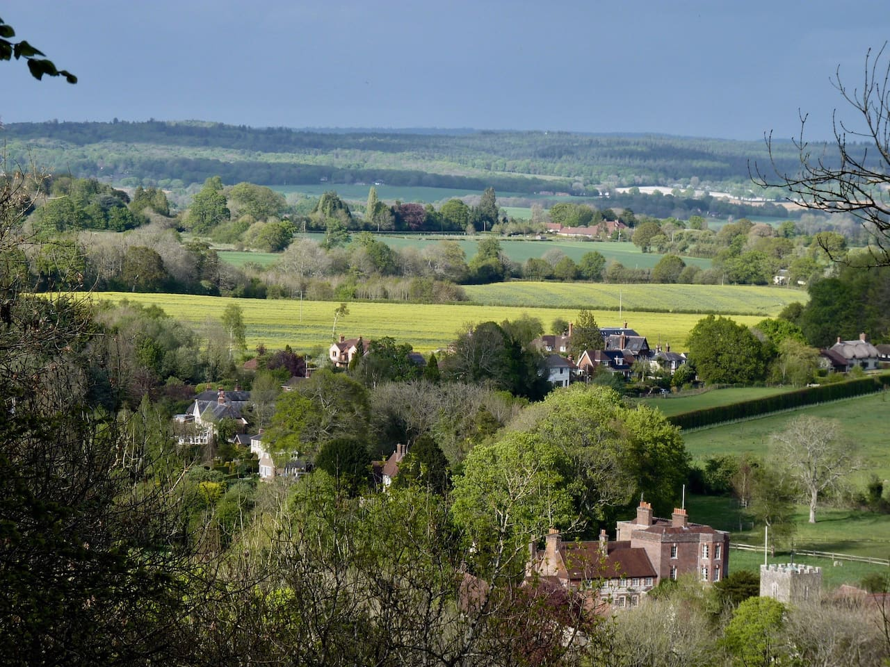 Buriton Village from the South Downs Way.