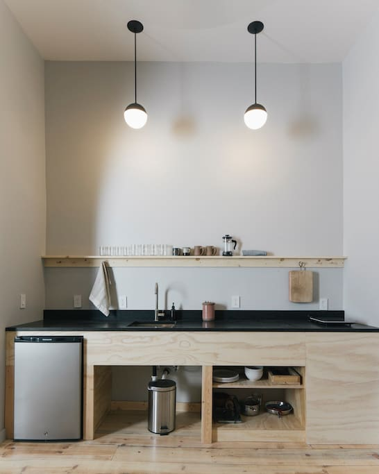 The perfectly simple, well equipped kitchenette