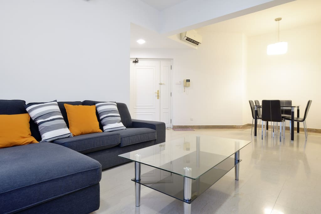 Comfortable fully air conditioned living area with TV
