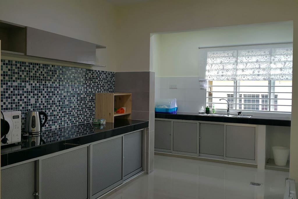 Renovated kitchen. With kitchen utensils & double wash sink