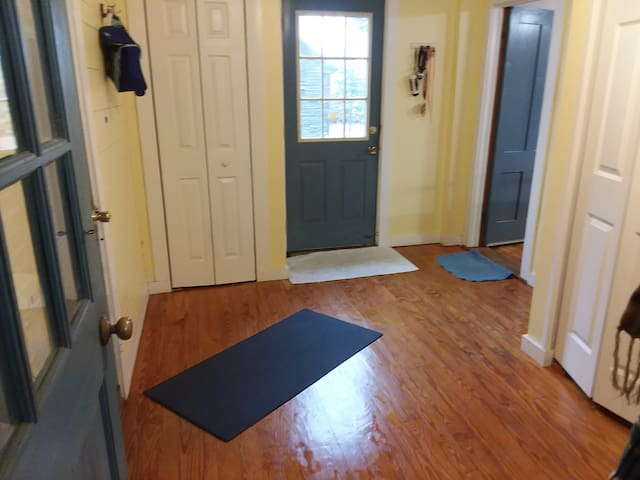 garage and front door entrance into mudroom