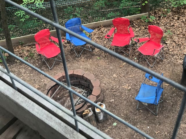 Here's a view of the fire pit area looking down from the balcony.