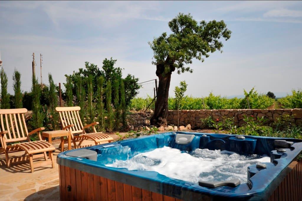 Jacuzzi (uso gratuito) en el jardín abierto en los meses de verano.